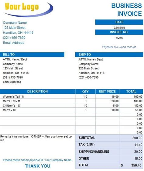 list    invoice formats  excel