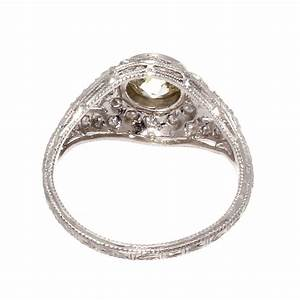 Art Deco Diamond Platinum Engagement Ring at 1stdibs