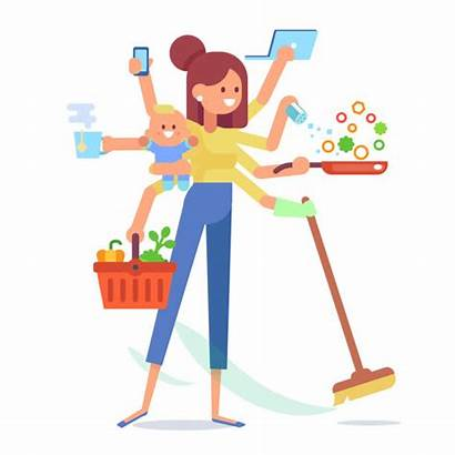 Mom Cleaning Cooking Mother Working Multitasking Woman