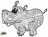 Hippo Coloring Doodles sketch template