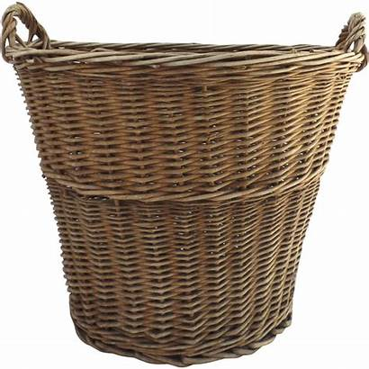 Wicker Basket Laundry French Handles Tall Side
