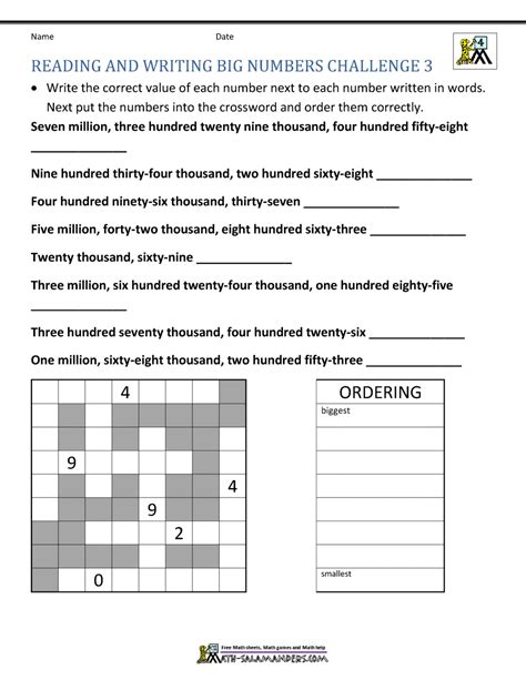 4th grade math worksheets reading writing and rounding