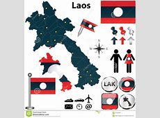 Map of Laos stock vector Illustration of button, sign