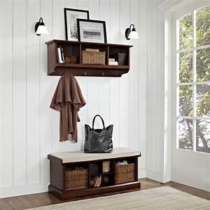 Crosley, Brennan, Entryway, Storage, Bench, With, Storage, Shelf, -, Mahogany