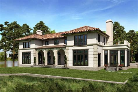 Mediterranean Homes Plans With Cream Wall Paint Color