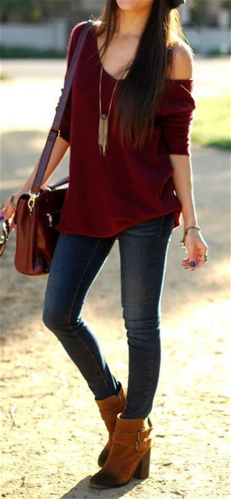 Casual sexy style - jeans brown boots one-sleeve burgundy shirt pinned with Pinvolve - pinvolve ...
