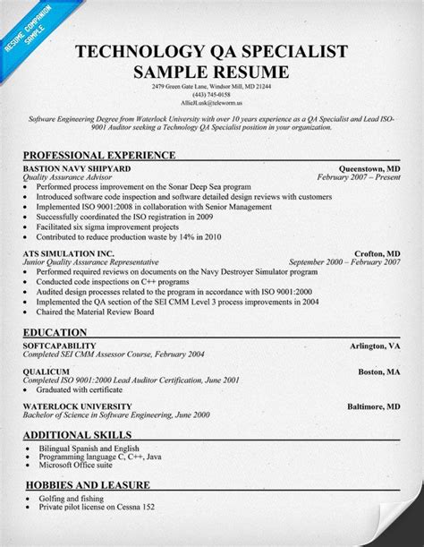 Quality Specialist Resume by Technology Qa Specialist Resume Resumecompanion