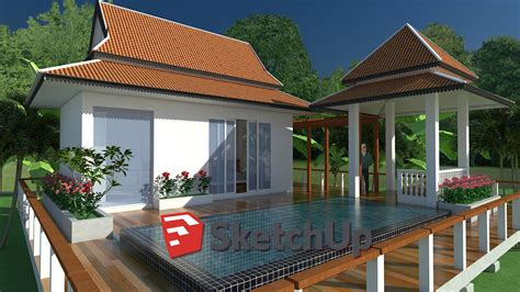 sketchup exterior house design  pool speed video