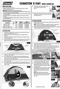 Coleman 2000001589 Users Manual Evanston 6 Tent