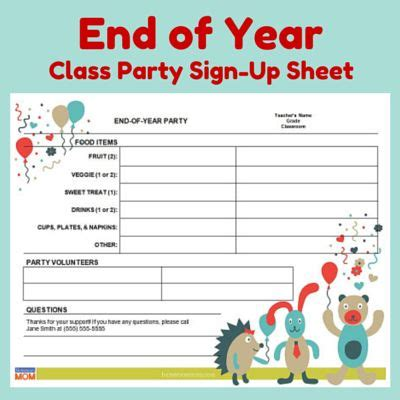 year classroom party sign  sheet   posts