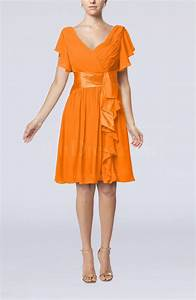 orange modest a line zip up knee length pleated wedding With orange wedding guest dress
