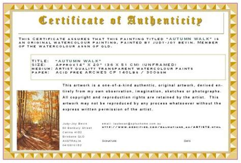 Certificate Of Authenticity Template by Certificates Of Authenticity Artsy Shark