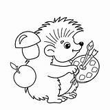 Hedgehog Coloring Outline Cartoon Animal Paints Brushes Vector Palette Artist sketch template