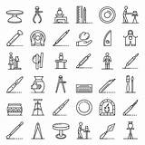 Outline Wheel Premium Potters Icons Vector sketch template