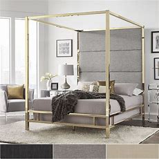 Evie Gold Metal Canopy Bed With Linen Panel Headboard By