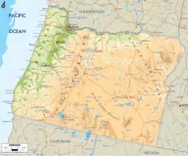 Oregon Map - Physical Map of Oregon Oregon