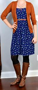 Outfit post navy heart dress rust cardigan brown riding boots | Outfit Posts
