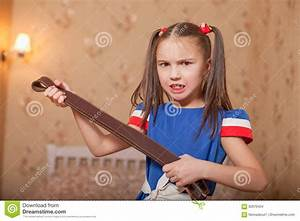 Angry Little Girl With Belt In Hand. Stock Photo - Image ...