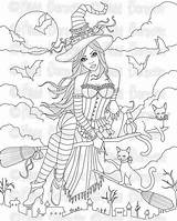 Coloring Witch Adult Printable Halloween Mary sketch template