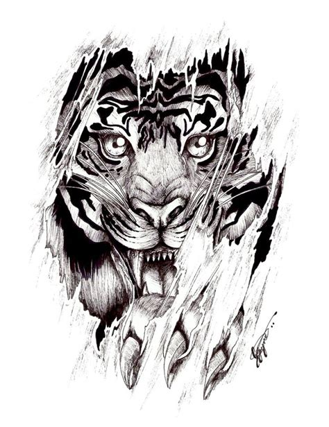 ripped skin angry tiger face tattoo design  shellvia