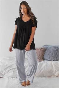 Black Pyjama Top With Pleated Front  Plus Size 18 To 36