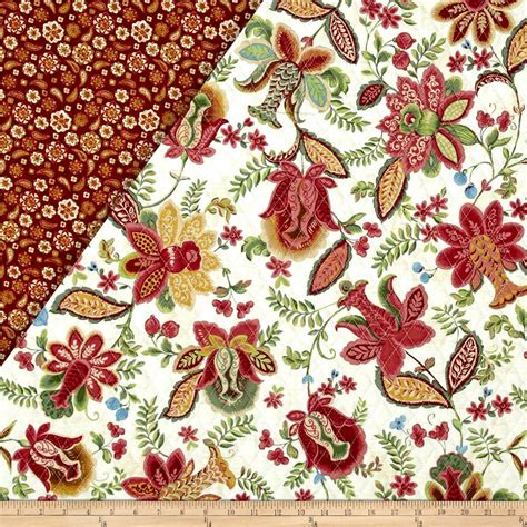 sided quilted fabric mackenzie sided quilted jacobean ecru burgundy
