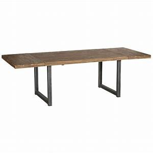 Table Repas Avec Allonges En Teck Naturel Et Pieds Mtal