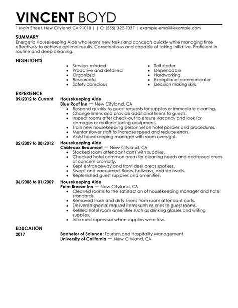 sle resume for housekeeper sle resume for