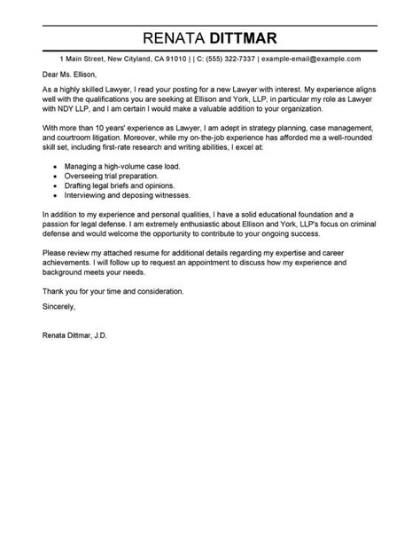 law cover letter examples livecareer