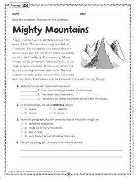 mighty mountains close reading passage printable skills