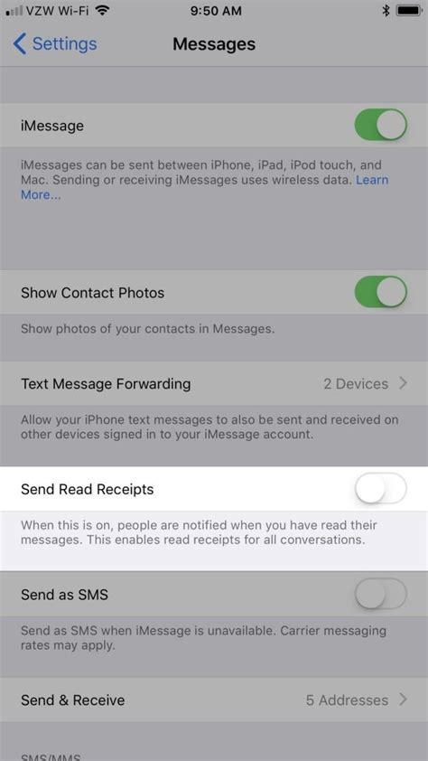 how to read old messages on iphone how to enable disable read receipts for imessages How T