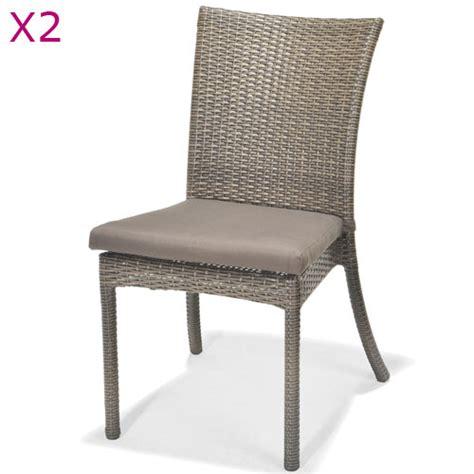 chaise en résine tressée 2 chaises en résine tressée comorus gris amazone livré