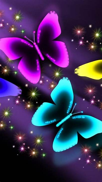 Butterfly Neon Backgrounds Pink Background Purple Colors