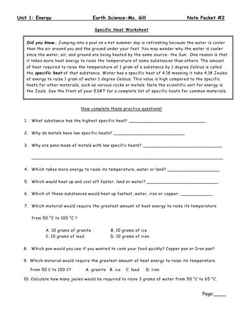 specific heat worksheet earth science specific best free