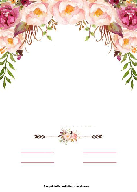 printable boho chic flower baby shower invitation