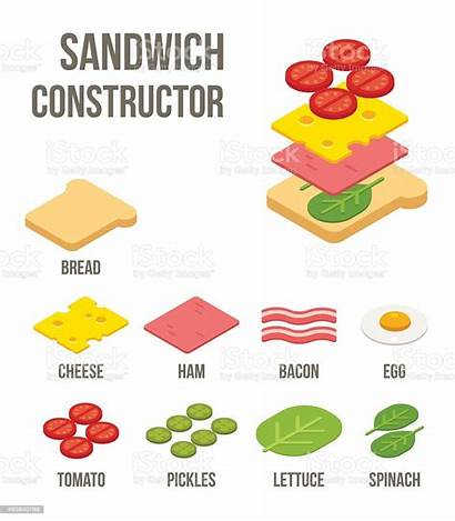 Sandwich Ingredients Isometric Vector Illustration Breakfast Bread