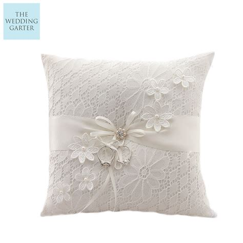 dita luxury ivory lace floral wedding ring pillow australia
