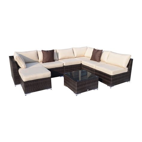 outsunny 8pcs outdoor rattan patio furniture set aosom ca