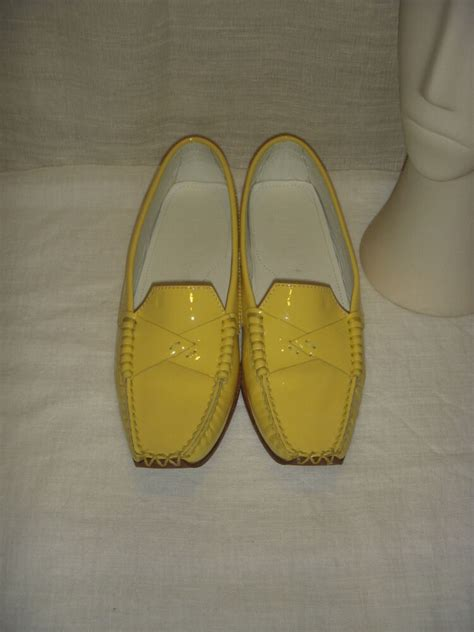 tods yellow leather loafers moccasin shoes women size