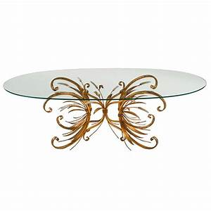 French Style Contemporary Oval Glass Top Coffee Table With