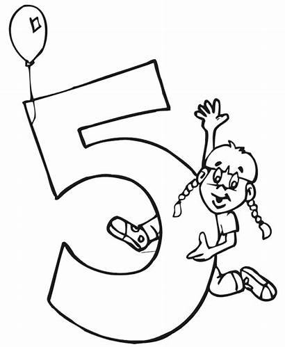Birthday 5th Coloring Pages Happy Printable Clipart