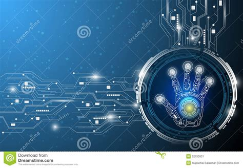 digital hand technology abstract design background stock