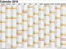 Get free Printable 2019 One Page Calendar Template
