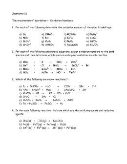 Oxidationreduction Worksheet