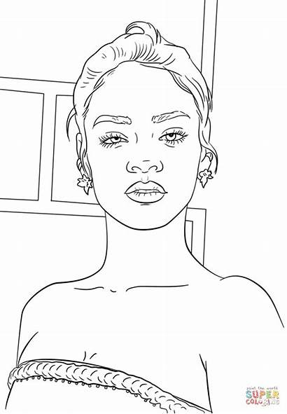 Coloring Rihanna Pages Celebrity Printable Star Famous