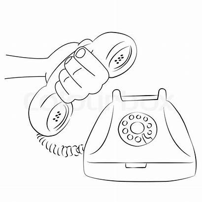 Telephone Vector Cartoon Outline Ringing Fashioned Receiver