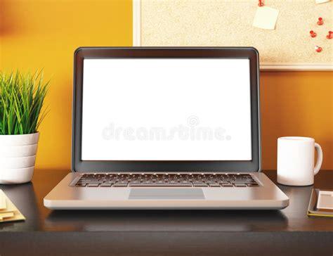 ecran ordinateur bureau bureau 3d avec l 39 écran vide d 39 ordinateur portable maquette