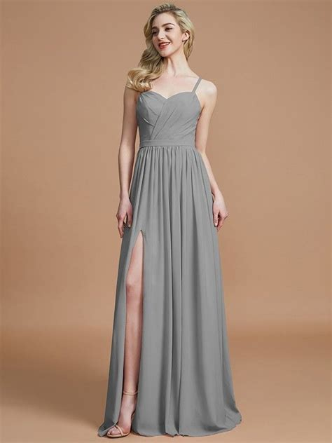 A-Line/Princess Spaghetti Straps Sleeveless Ruched Floor ...