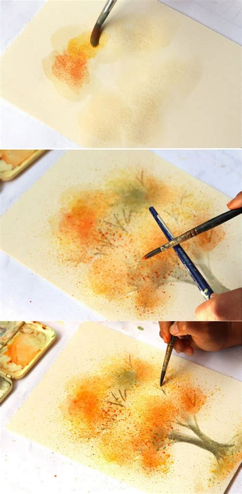 easy watercolor painting tree  fall colors