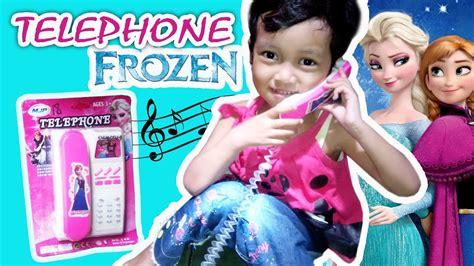 bermain telephone mainan pink frozen elsa anna playing